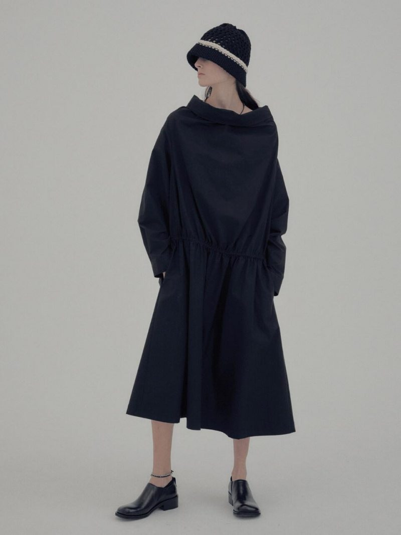 2-Way Cowl Neck Shirts Dress Black