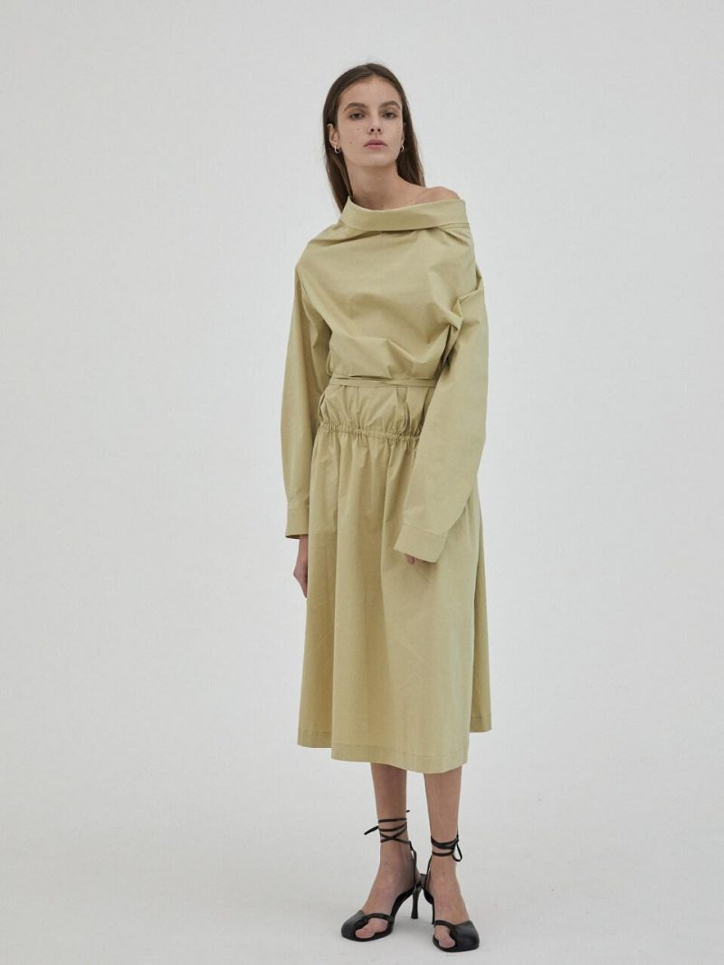 2-Way Cowl Neck Shirts Dress Dusty Yellow