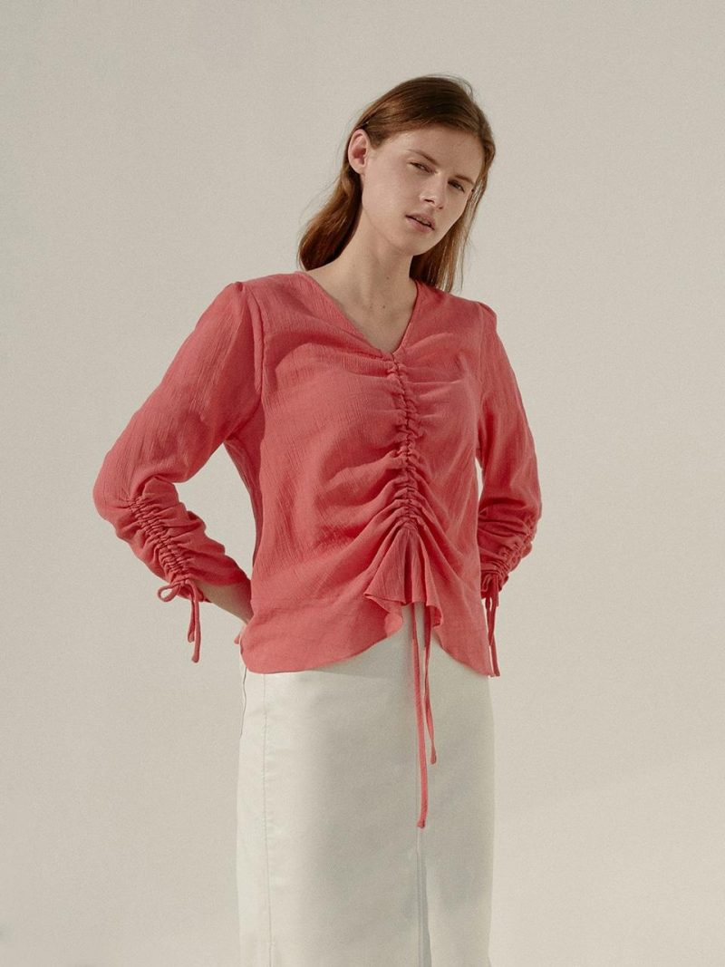 A Crepe Shirring Blouse Pink
