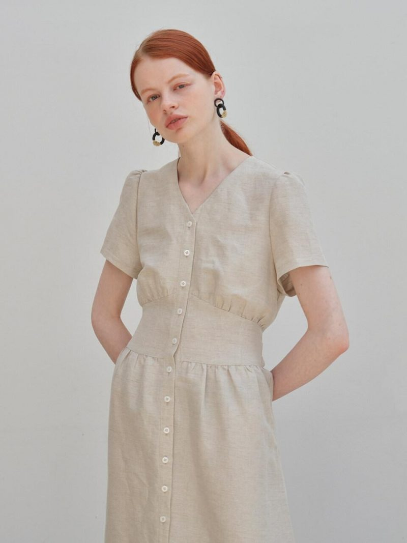 A1 CORSET LINEN DRESS - BEIGE