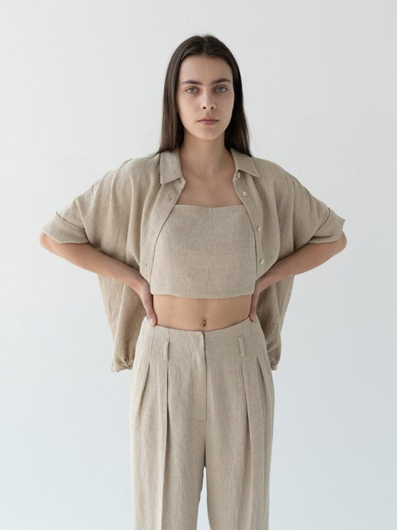 Adjustable String Linen Shirt