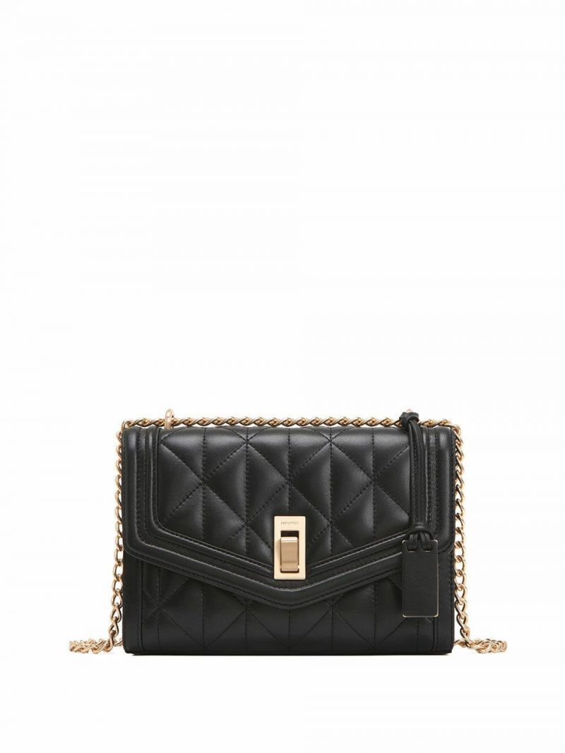 Agnes Quilted Shoulder Bag - Black