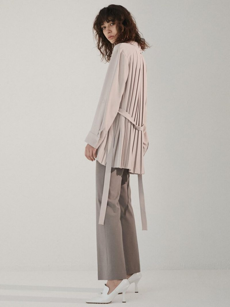 Back Pleated Blouse Beige