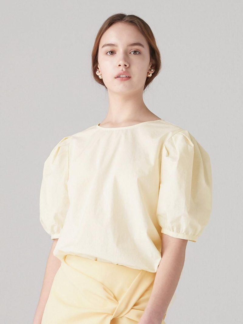 Back Strap Tied Blouse - Light Yellow