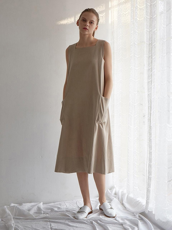 Baiser A-line Dress French Natural Linen Cotton
