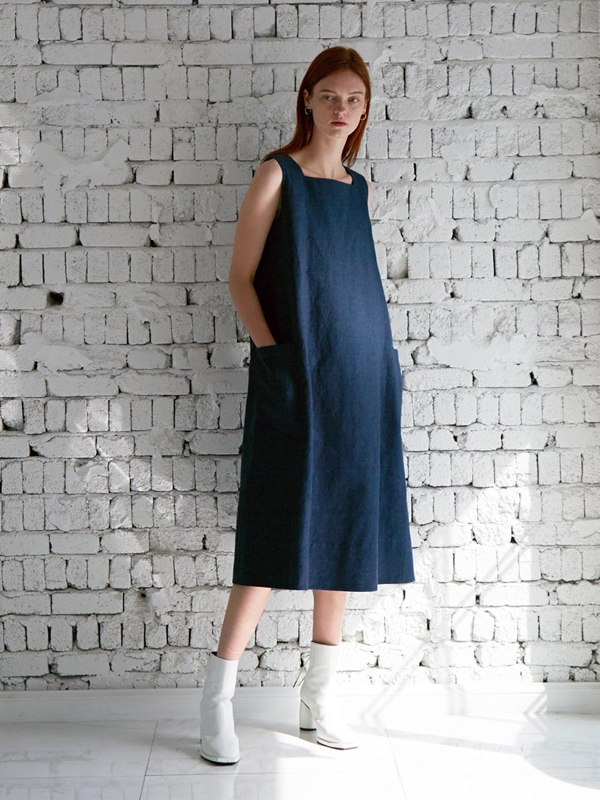 Baiser A-line Dress Indigo Dyed Linen Cotton