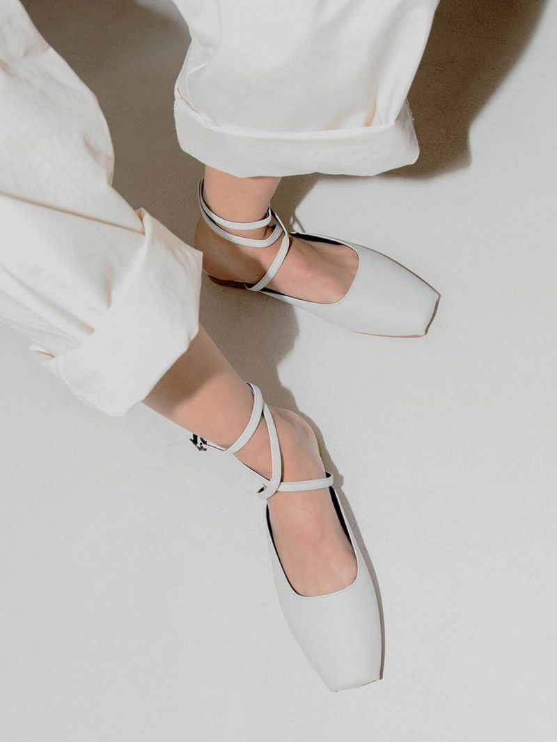 Ballet Toe Ankle Strap Flat Shoes _ White