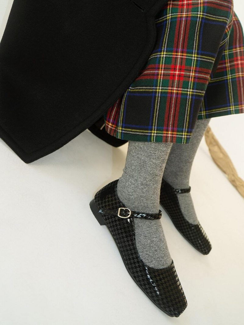 Ballet Toe Mary Jane Flats Black Houndstooth
