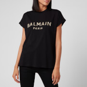 Balmain Women's Short Sleeve Sequined Logo T-Shirt - Black - XS
