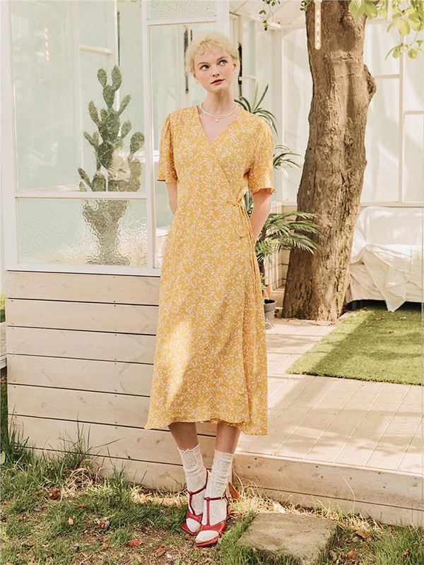 Bella Long Wrap Dress_Mustard