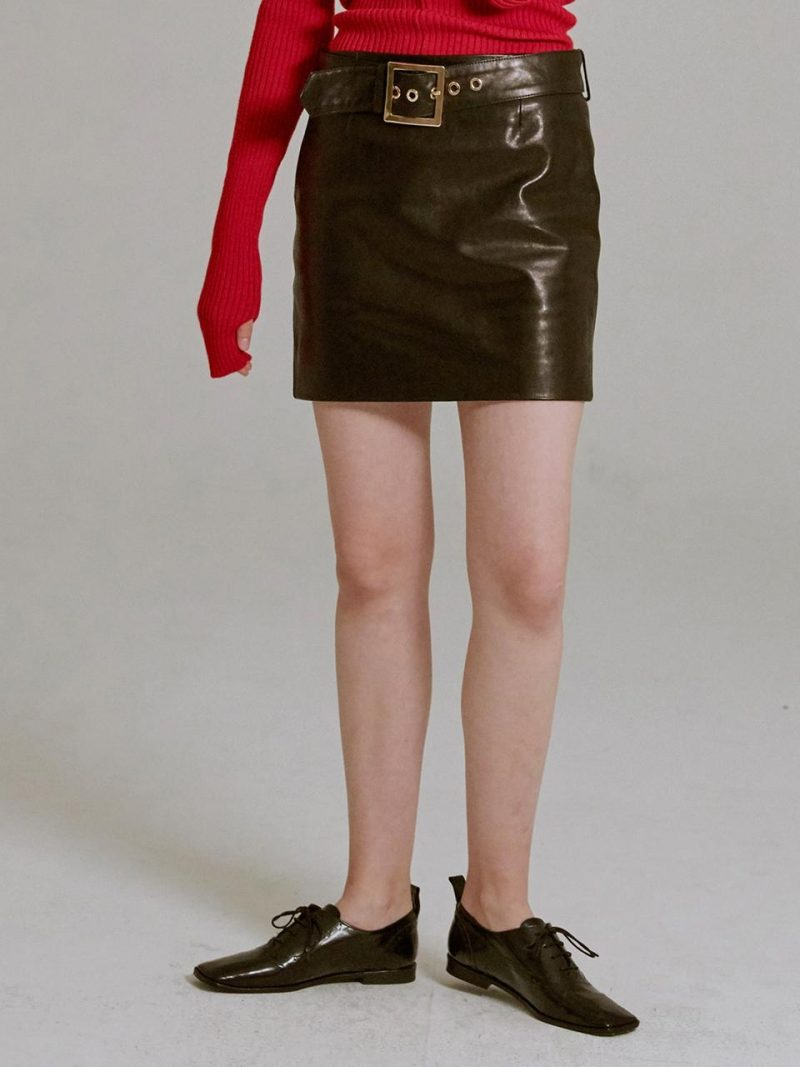 Belted Leather Mini Skirt Black