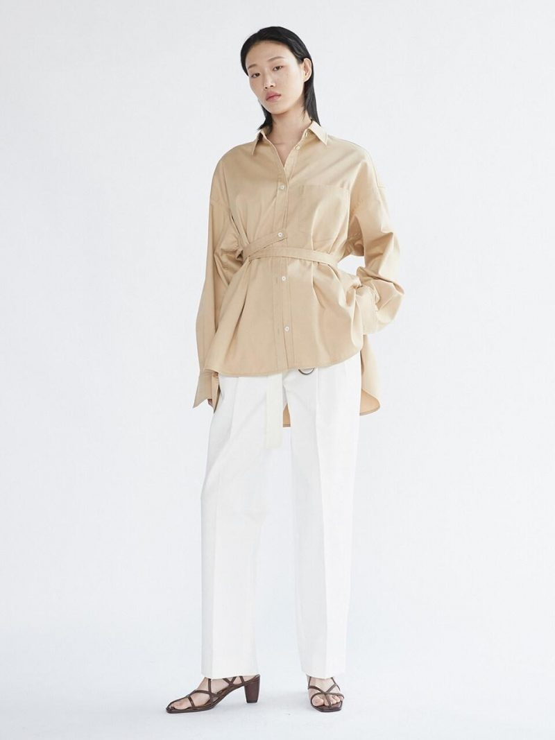 Belted Pleated Trousers Off White