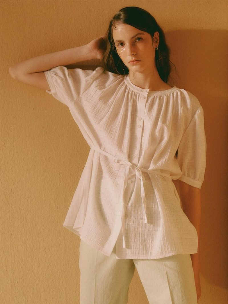 Belted Shirring Blouse