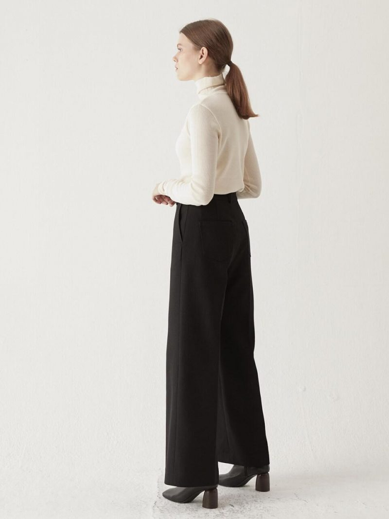 Belted Wide Trousers Black