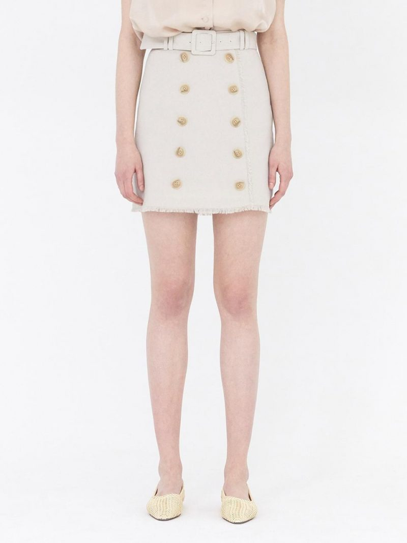 Button-Front Mini Skirt With Belt_Beige
