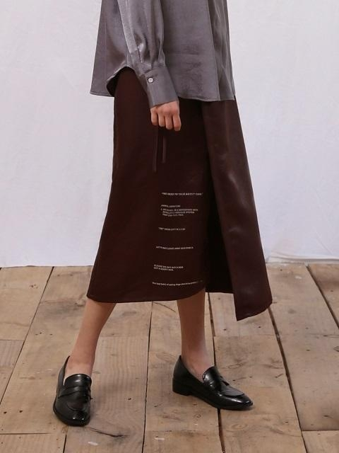 CAMPAIGN SILKY WRAP SKIRT BROWN