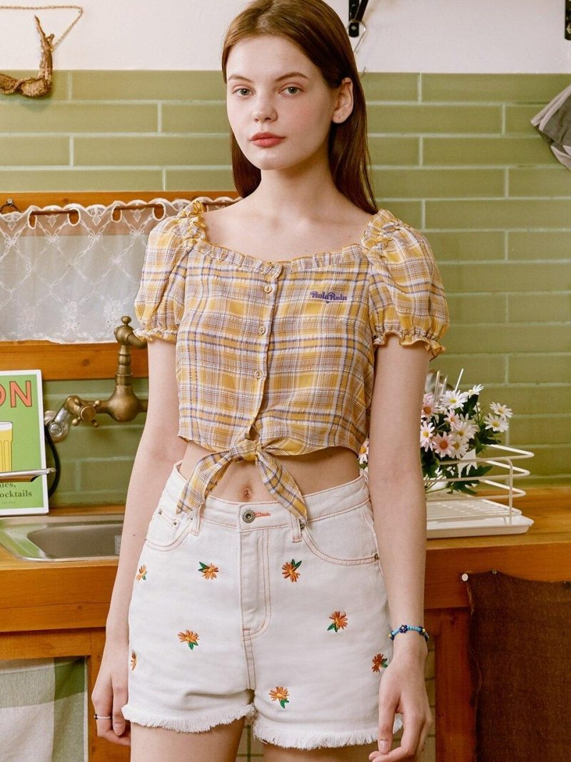 CHECK TIED-UP PUFF-SLEEVE SHIRT - YELLOW