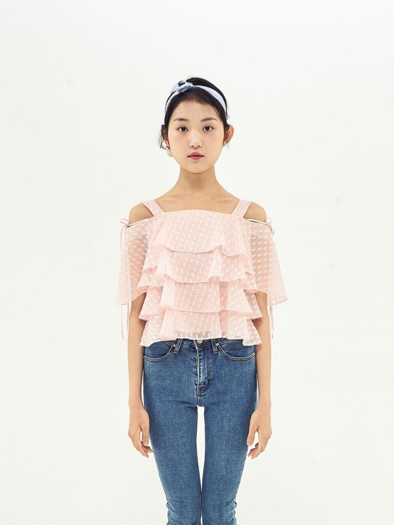 Cancan Frill Off Shoulder Top_Salmon Pink