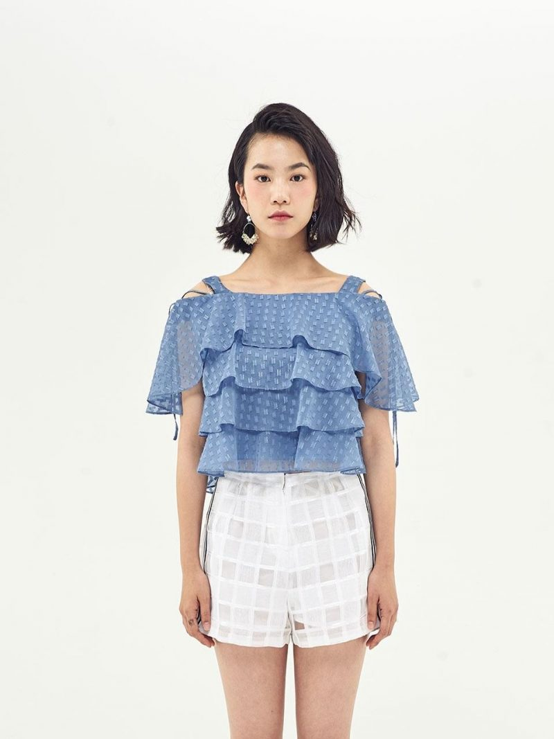 Cancan Frill Off Shoulder Top_Sky Blue