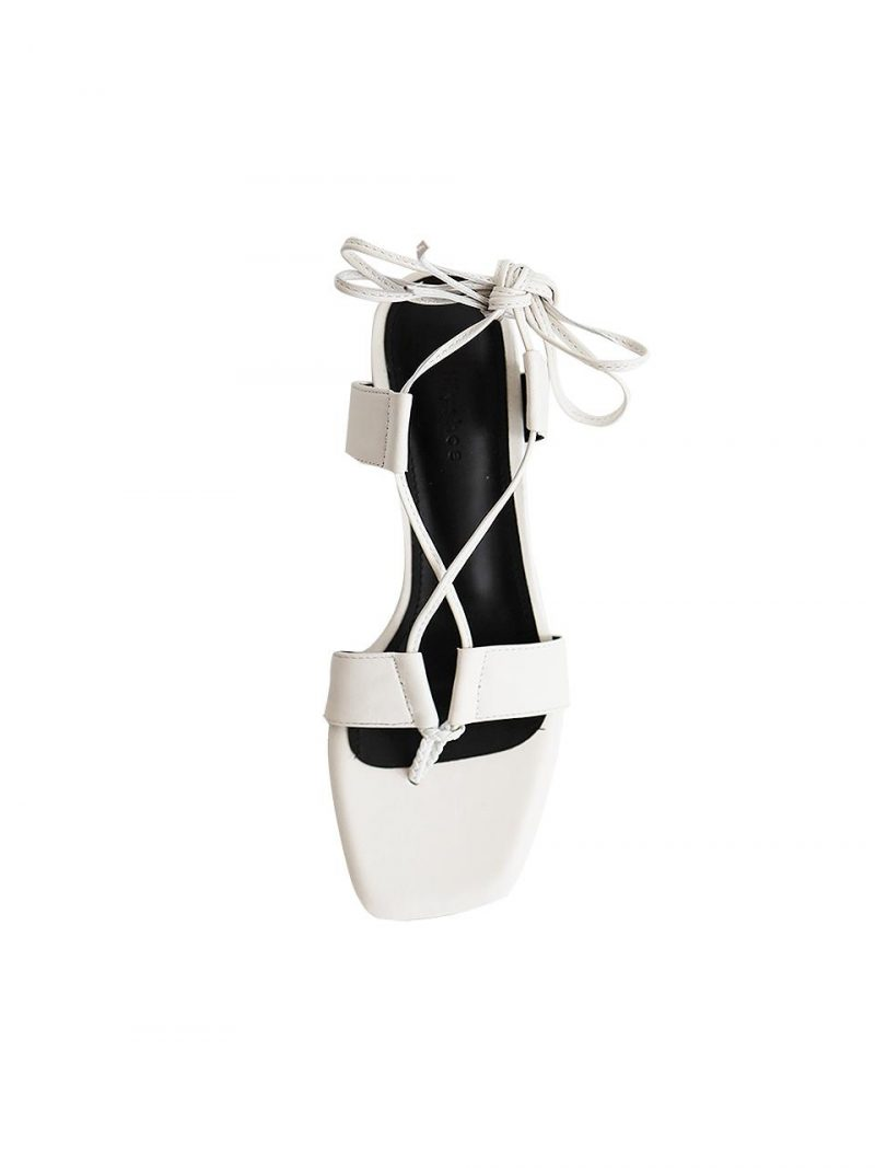 City Lace Up Sandal - White
