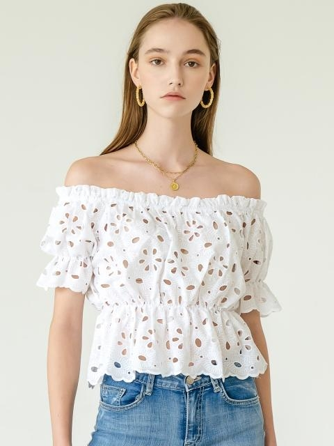 Clara Eyelet Off Shoulder Blouse_White