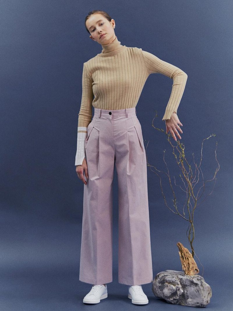 Cotton Two Tuck Wide-leg Trousers