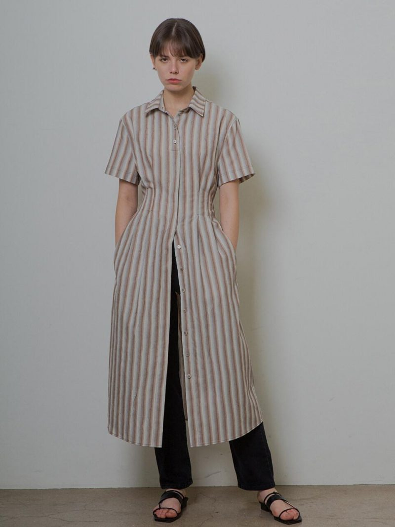 Crinkle Shirt Dress_Stripe