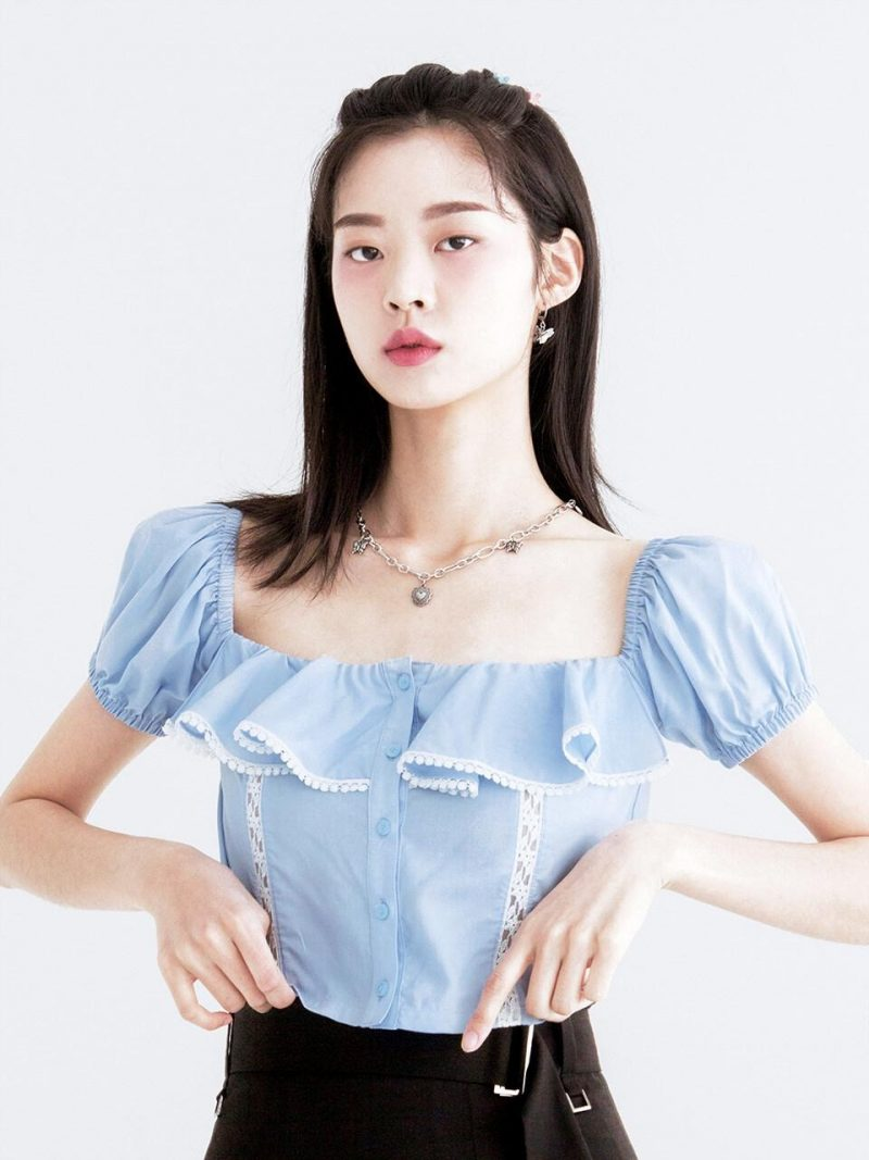Crop Ruffle Blouse _Blue