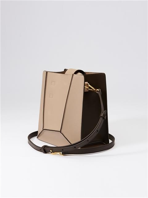Cross-body Bag Beige Deep Brown