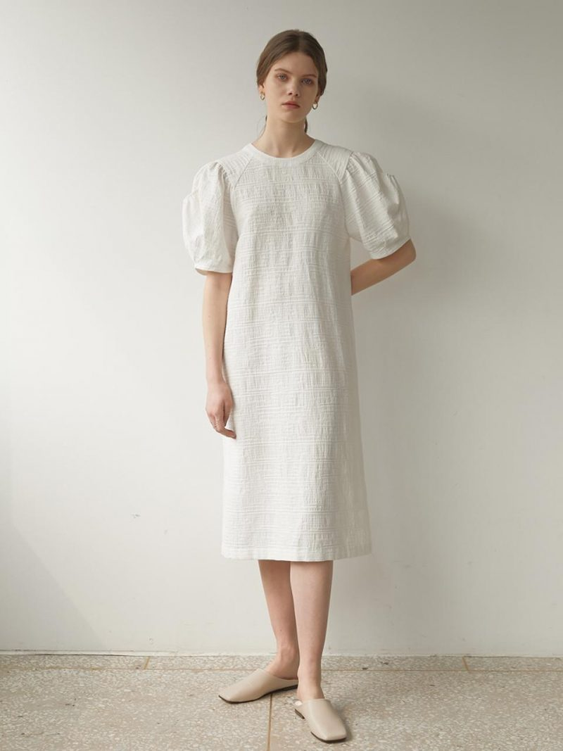 Cut Out Puff Sleeve Dress White