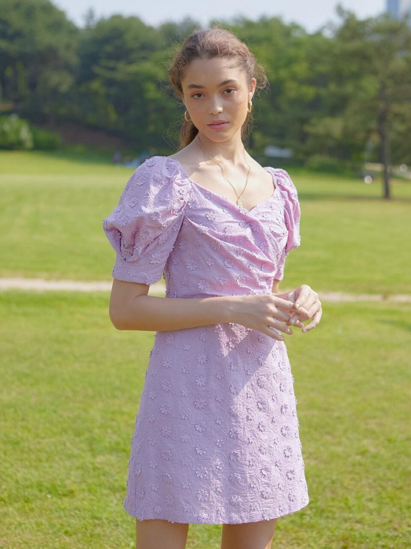 DAISY LACE PUFF SLEEVES DRESS VIOLET PINK