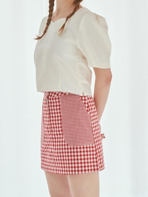 Double Check Skirt_Cherry Red