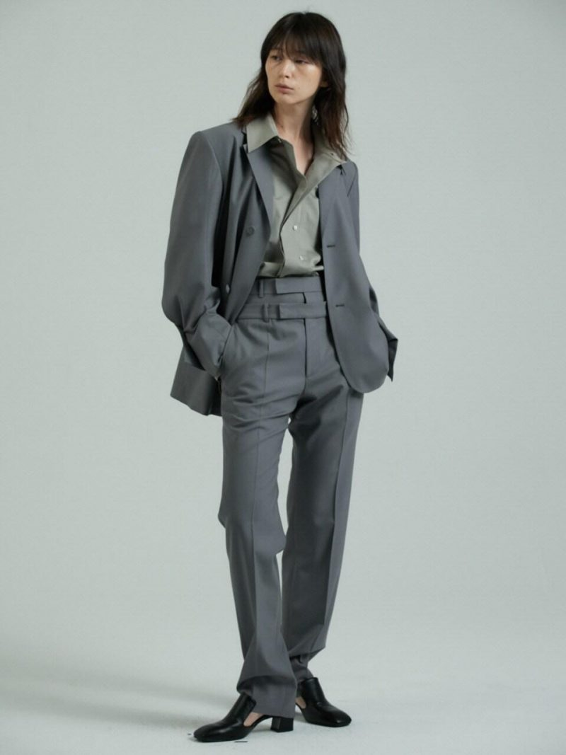 Double Waist Trousers - Gray
