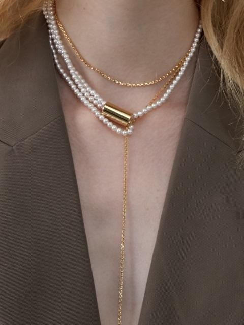 Dropped Chain And Pearl Necklace