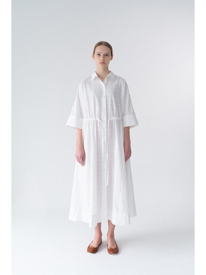Eleve Shirt Dress_White Check