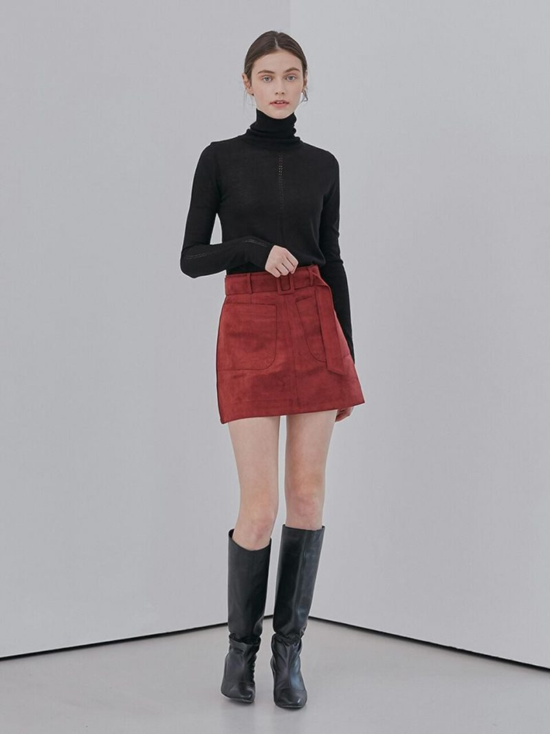Faux Suede Belt Skirt_Red
