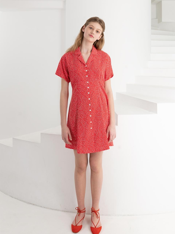 Front Button Mini Dress Red