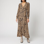 Ganni Women's Printed Crepe Zebra Wrap Dress - Tannin - EU 34/UK 6