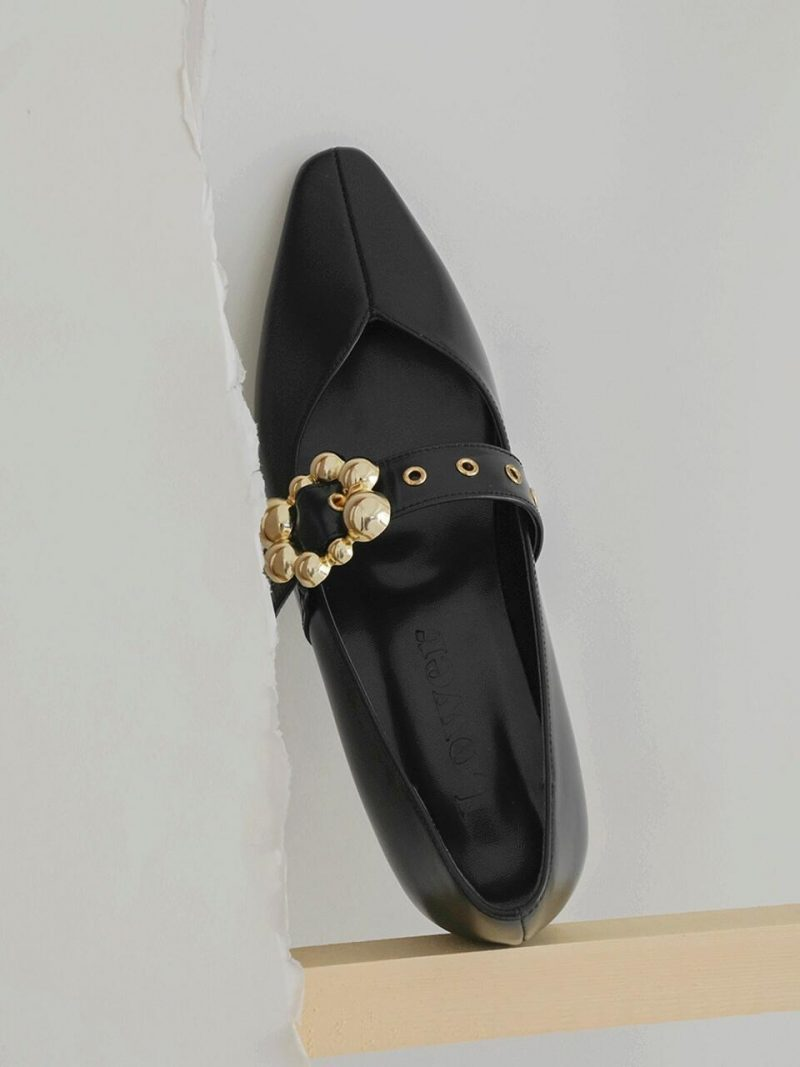 Gold Strapped Flat Black