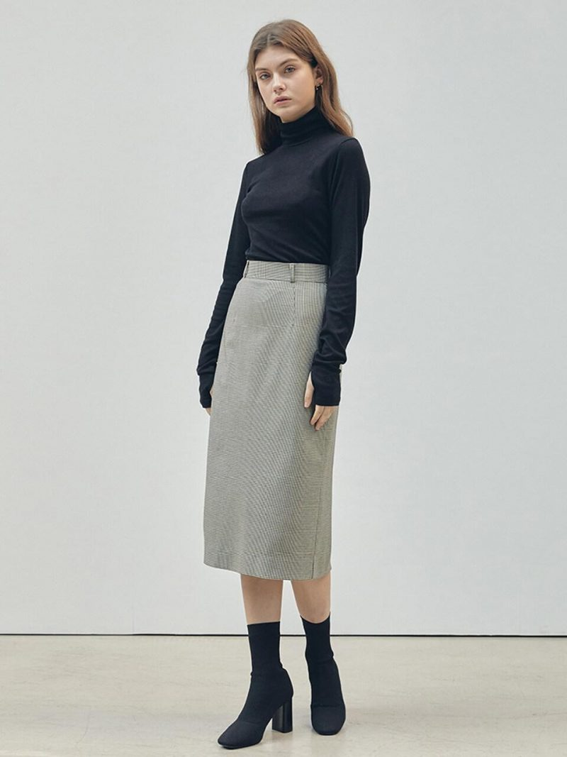H-Line Skirt Beige Small Check