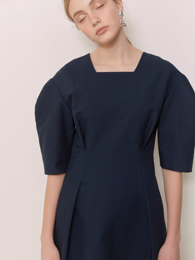 HEATHER Volume Sleeve Midi Dress Navy