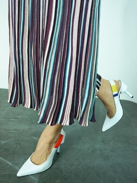 High Heel Slingback Three Primary Colors And White