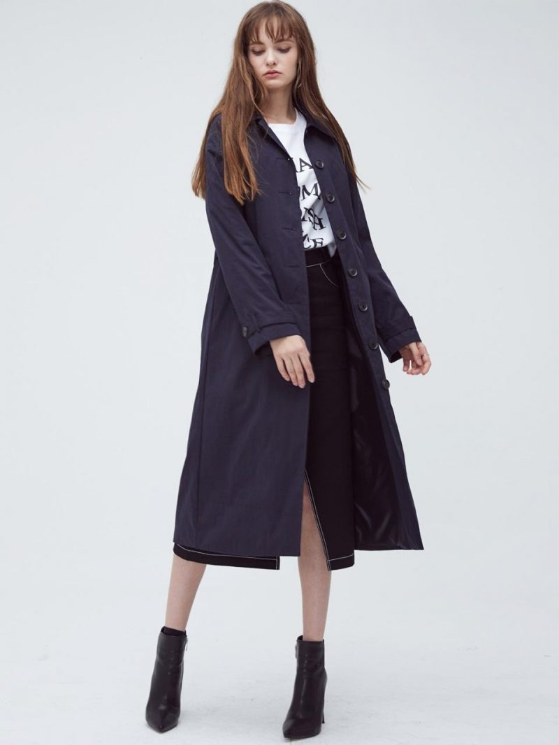 Hs Single Trench Coat-Navy