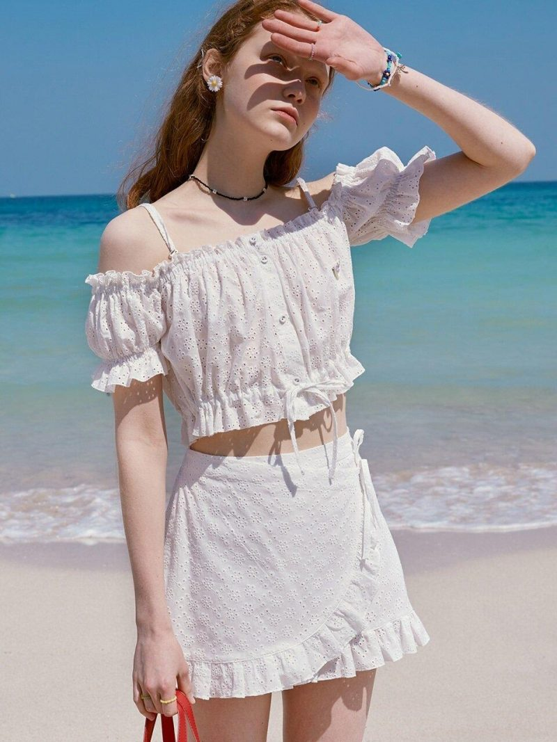 LACE OFF-SHOULDER FRILL SHIRT - WHITE
