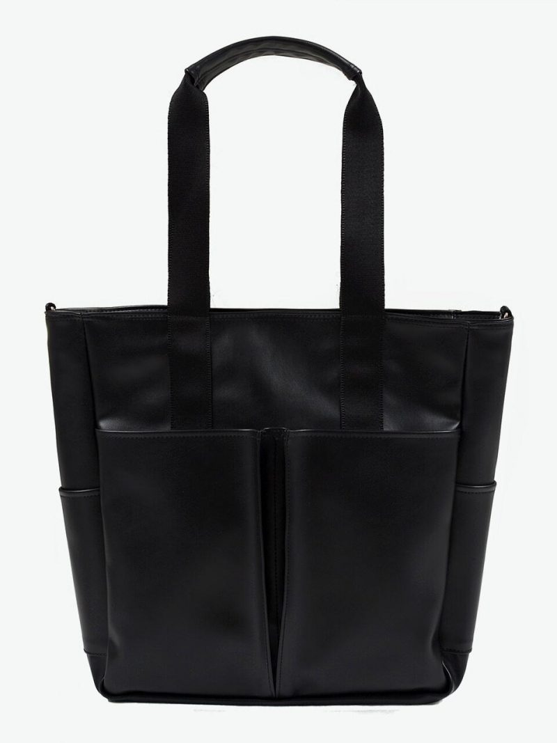LEATHER 5 POCKET CROSS AND TOTE BAG(BLACK)