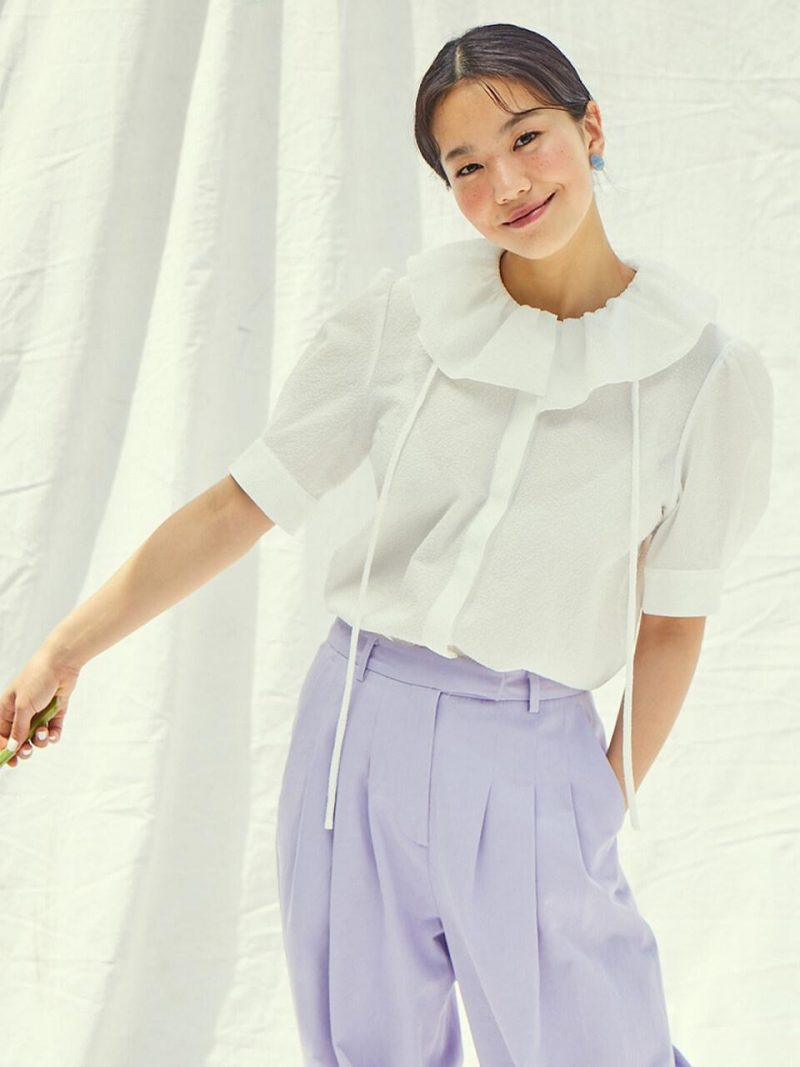 LONG BEACH Ruffle Detail Short Sleeve Blouse