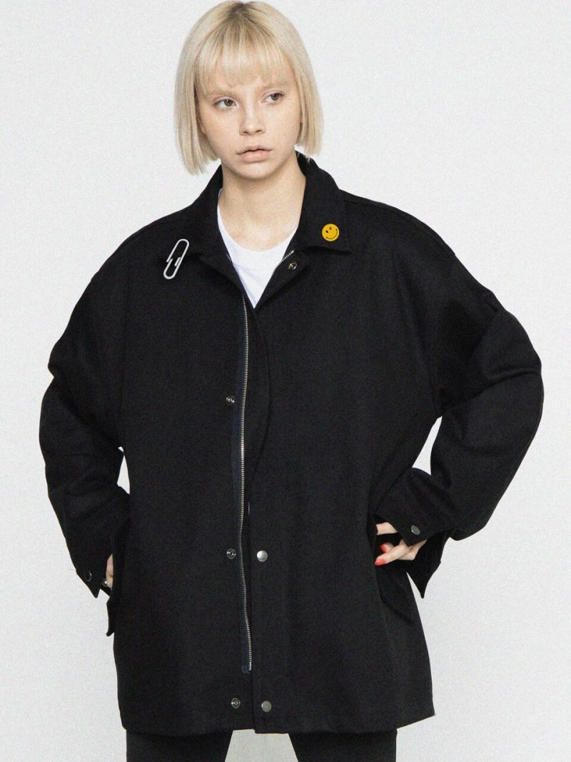 Lapel Dot Smile Clip Oversized Jacket_Black