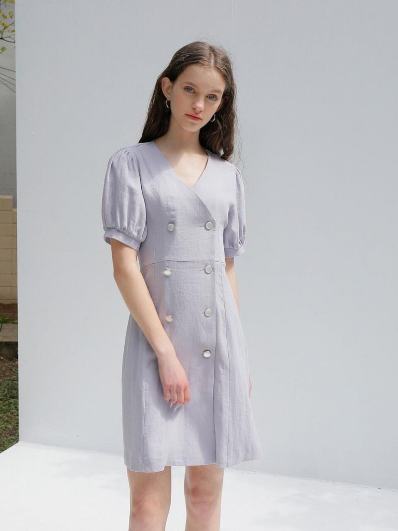 Linen Double Dress Light Purple