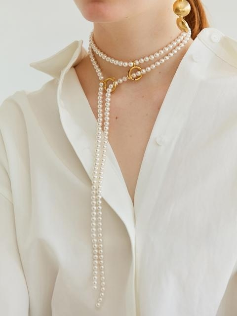 Linked Pearl Long Necklace