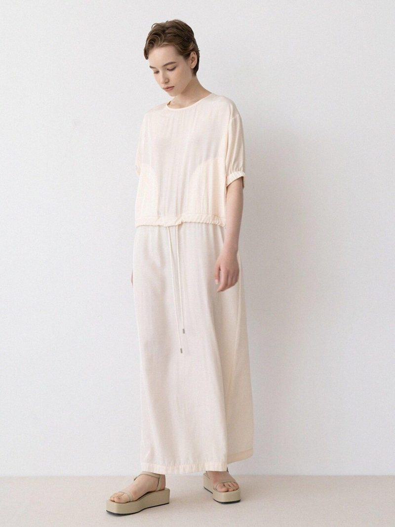 Loose-fit String Dress - Cream